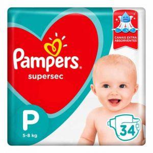 FRALDA PAMPERS SUPERSEC P COM 34 UNIDADES