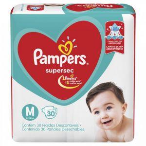 FRALDA PAMPERS SUPERSEC M COM 30 UNIDADES