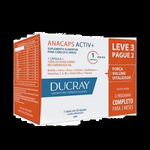 DUCRAY ANACAPS ACTIV+ COM 90 CÁPSULAS LEVE 3 PAGUE 2